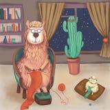 De alpaca en het lam breien in de avond stock illustratie