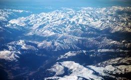 De Alpen uit het vliegtuig Stock Foto's