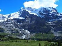 De alpiene bergen strekken zich landschap dichtbij GRINDELWALD-dorp in schoonheids Zwitserse ALPEN in uit ZWITSERLAND royalty-vrije stock foto's