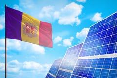 De alternatieve energie van Andorra, zonne-energieconcept met vlag industriële illustratie - 3D symbool van strijd met het global vector illustratie
