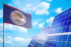 De alternatieve energie van Belize, zonne-energieconcept met vlag industriële illustratie - 3D symbool van strijd met het globale royalty-vrije illustratie