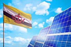 De alternatieve energie van Brunei Darussalam, zonne-energieconcept met vlag industriële illustratie - symbool van strijd met het stock illustratie