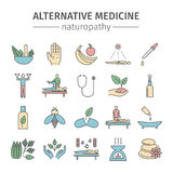 De alternatieve geplaatste pictogrammen van de Geneeskundelijn Naturopathy vectorteken Stock Foto's