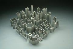 De aluminiumuitdrijvingen vatten industrieel samen Stock Foto