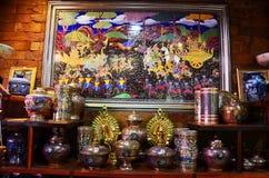 De ambacht Benjarong is traditionele Thaise vijf basiskleurenstijl pott royalty-vrije stock foto
