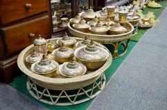De ambacht Benjarong is traditionele Thaise vijf basiskleurenstijl pott royalty-vrije stock fotografie