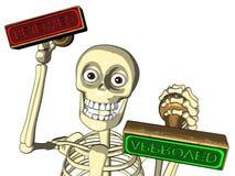 De ambtenaar van het skelet geeft goedgekeurd/verworpen zegel Royalty-vrije Stock Afbeelding