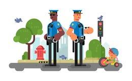 De ambtenaar van de politiepatrouille op stadsstraat stock illustratie