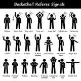De Ambtenaren van basketbalscheidsrechters overhandigen Signalen Cliparts Royalty-vrije Stock Afbeelding