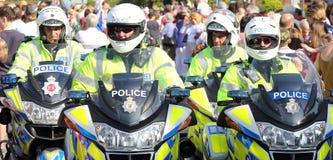 De Ambtenaren van de Motorfiets van de politie Stock Fotografie