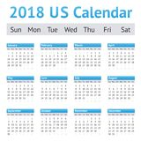 2018 de Amerikaans-Engelse Kalender van de V.S. Royalty-vrije Stock Afbeelding