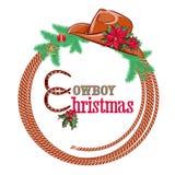 De Amerikaanse achtergrond van cowboyChristmas die op w wordt geïsoleerd Stock Foto