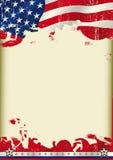 De Amerikaanse achtergrond van de affiche golvende vlag stock illustratie