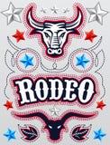 De Amerikaanse affiche van de Rodeo - kaartmalplaatje - Vectorreeks stock illustratie