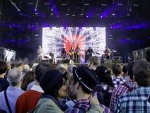 De Amerikaanse Band Midlake voert levend op stadium uit Royalty-vrije Stock Afbeelding