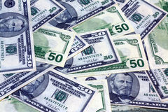 De Amerikaanse Bankbiljetten van Vijftig Dollars Stock Afbeelding