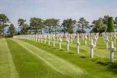 De Amerikaanse Begraafplaats van Normandië bij het strand van Omaha, Normandië, Frankrijk royalty-vrije stock afbeelding