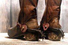 De Amerikaanse Cowboy Boots van de het Westenlegende en Berijdende Aansporingen Royalty-vrije Stock Afbeelding