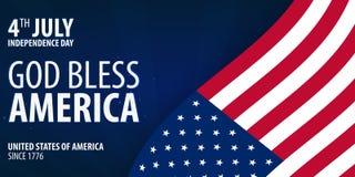 De Amerikaanse Dag van de Onafhankelijkheid De god zegent Amerika 4 Juli Malplaatjeachtergrond voor groetkaarten, affiches, pamfl stock illustratie