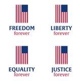 De Amerikaanse Dag van de Onafhankelijkheid 4 Juli Malplaatjeachtergrond voor groetkaarten, affiches, pamfletten en brochure Vect royalty-vrije illustratie