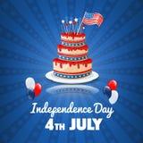 De Amerikaanse Dag van de Onafhankelijkheid vierde van de Vakantieachtergrond van Juli de V.S. stock illustratie