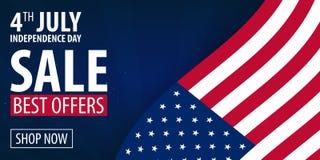 De Amerikaanse Dag van de Onafhankelijkheid vierde van Exclusieve de Aanbiedingenverkoop van Juli, Verkoopaffiche Malplaatjeachte vector illustratie