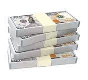 De Amerikaanse dollar factureert stapels Stock Foto