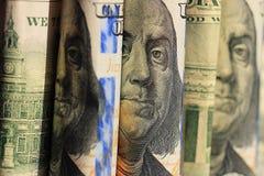 De Amerikaanse dollars van fragmentbankbiljetten Stock Foto