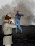 De Amerikaanse Illustratie van de Burgeroorlog Gevallen Patriot Stock Afbeeldingen