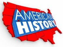 De Amerikaanse Kaart die van de V.S. van Geschiedenis 3d Woorden Verenigde Staten Educait leren Royalty-vrije Stock Foto