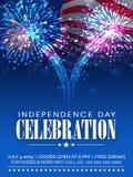 De Amerikaanse kaart van de de vieringsuitnodiging van de Onafhankelijkheidsdag Royalty-vrije Stock Foto's