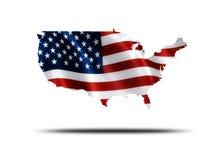 De Amerikaanse Kaart van de Vlag Stock Foto