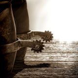 De Amerikaanse Laarzen van de Cowboy van de Rodeo van het Westen met het Berijden van Aansporingen stock foto's