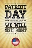 De Amerikaanse patriot van vlagwoorden dag 11 september, 2001 vector illustratie