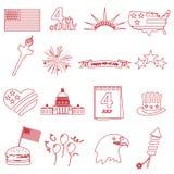 De Amerikaanse pictogrammen van het de vieringsoverzicht van de onafhankelijkheidsdag geplaatst eps10 Stock Afbeeldingen