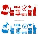De Amerikaanse reeks van het Verkiezingenteken Republikeinse olifant en Democratisch Stock Foto's