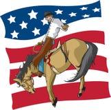 De Amerikaanse ruiter van Bronc van het Zadel stock illustratie