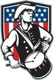 De Amerikaanse Slagwerker van de Patriot met Vlag stock illustratie