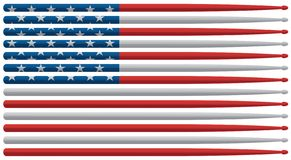 De Amerikaanse slagwerkervlag met rode, witte en blauwe sterren en de strepen trommelen stokken geïsoleerde vectorillustratie stock foto's