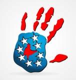 De Amerikaanse vector van het handembleem stock illustratie