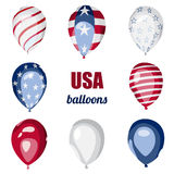 De Amerikaanse viering van de de Onafhankelijkheidsdag van de vlagballon Royalty-vrije Stock Afbeelding