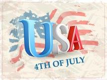 De Amerikaanse viering van de Onafhankelijkheidsdag met 3D teksten Stock Foto