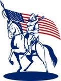 De Amerikaanse vlag van de cavaleriebugel Stock Foto