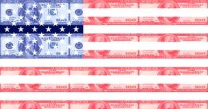 De Amerikaanse vlag van de honderd dollarsrekening Stock Foto's