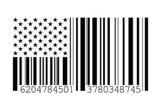 De Amerikaanse vlag van de streepjescode royalty-vrije illustratie