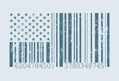 De Amerikaanse vlag van de streepjescode stock illustratie