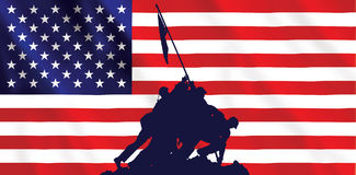 De Amerikaanse vlag van Jima van Iwo Stock Foto's