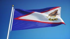 De Amerikaanse vlag van Samoa in langzame motie voorzag foutloos met alpha- van een lus stock footage