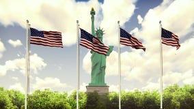 De Amerikaanse vlaggen fladdert in de wind op een Zonnige dag tegen de blauwe hemel en het Standbeeld van Vrijheid Het symbool va vector illustratie