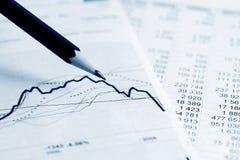 De analyse van beursgrafieken. Stock Foto